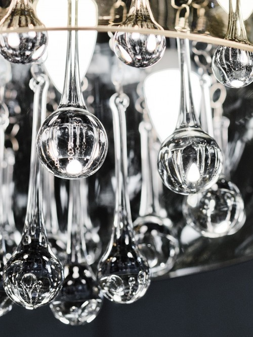 Smoked Shade Chandelier - Droplet Detail