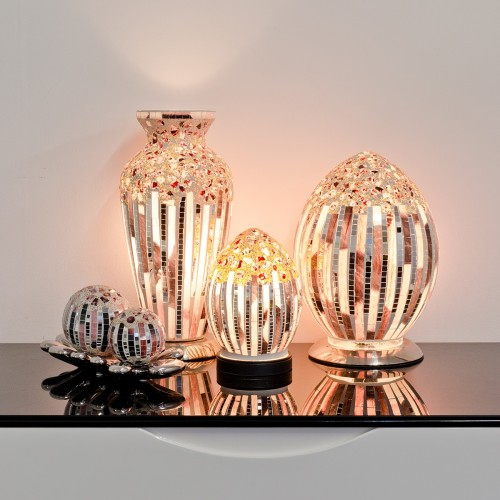 Mosaic Glass Lamps - Arc Deco Together - Turned On