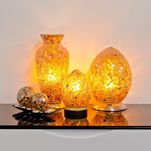 Mosaic Glass Lamps - Brown Together - Turned On