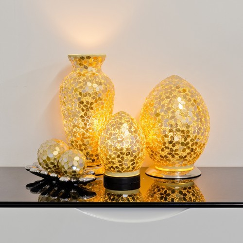 Mosaic Glass Lamps - Gold Together - Turned On