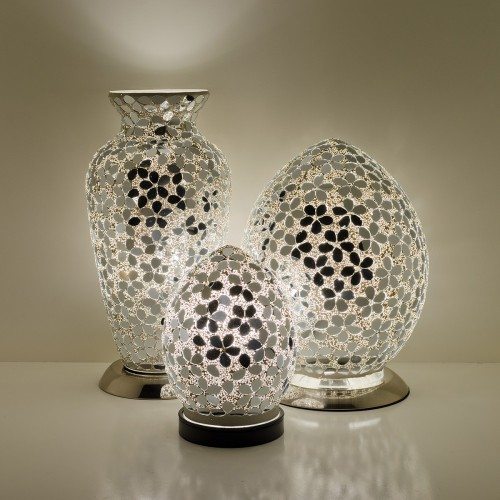 Mosaic Glass Lamps - Mirrored Flower Together