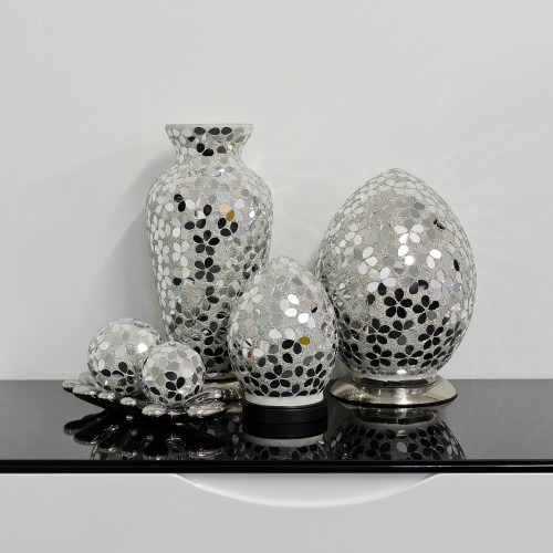 Mosaic Glass Lamps - Mirrored Flower Together - Turned Off