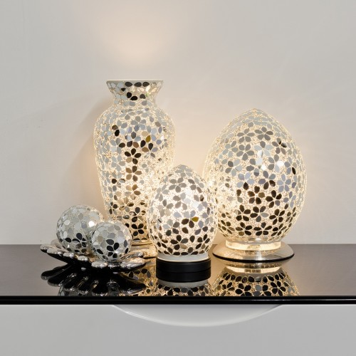 Mosaic Glass Lamps - Mirrored Flower Together - Turned On