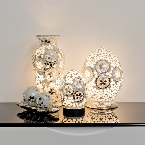 Mosaic Glass Lamps - Mirrored Art Deco Together - Turned On