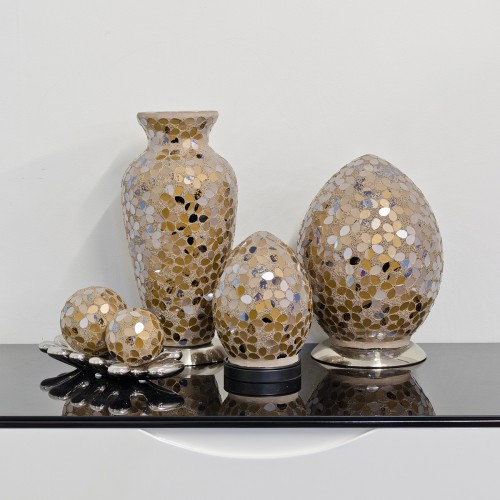 Mosaic Glass Lamps - Autumn Gold Together - Turned Off
