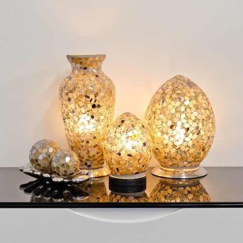 Mosaic Glass Lamps - Autumn Gold Together - Turned On