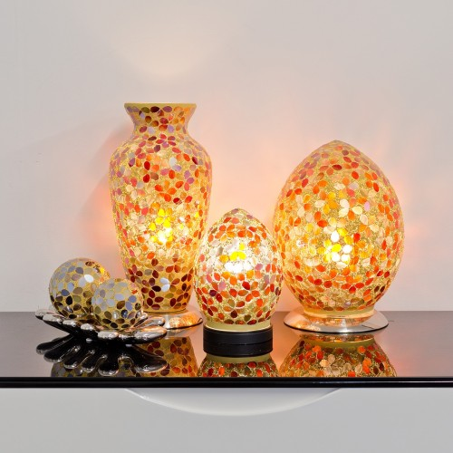 Mosaic Glass Lamps - Amber Together - Turned On