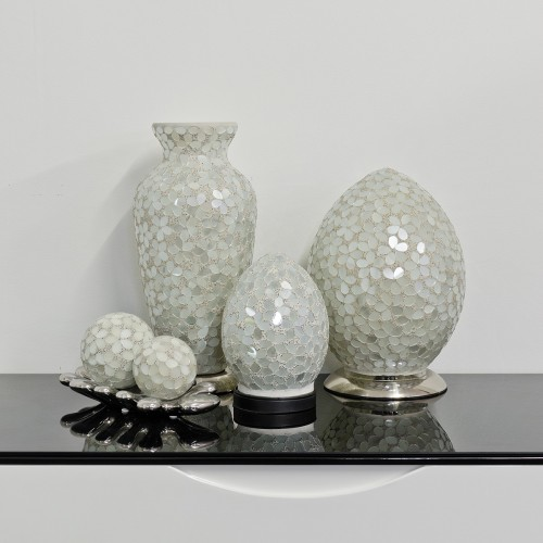 Mosaic Glass Lamps - Opaque Together - Turned Off