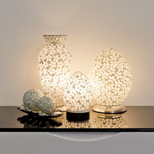 Mosaic Glass Lamps - Opaque Together - Turned On