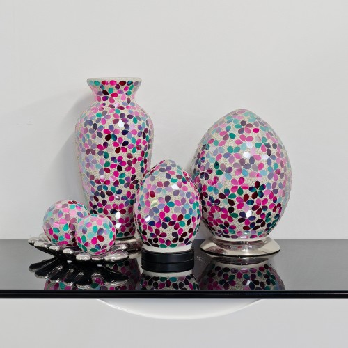 Mosaic Glass Lamps - Pink Together - Turned Off