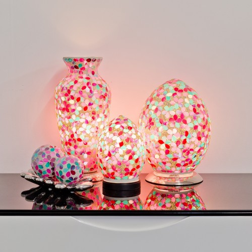 Mosaic Glass Lamps - Pink Together - Turned On