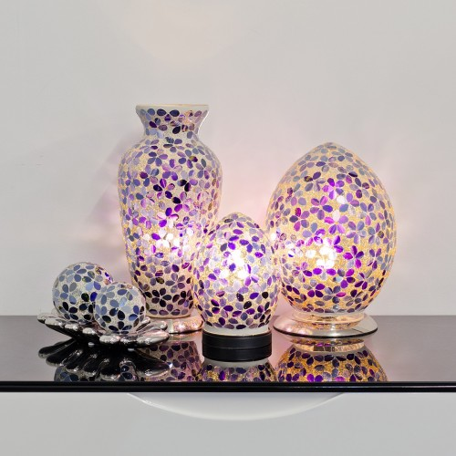 Mosaic Glass Lamps - Purple Together - Turned On