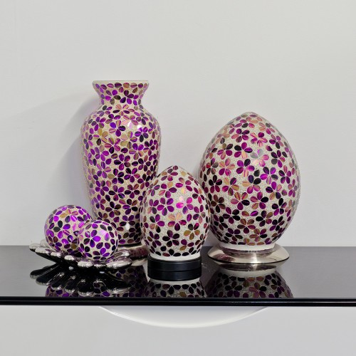 Mosaic Glass Lamps - Purple Tile Together - Turned Off