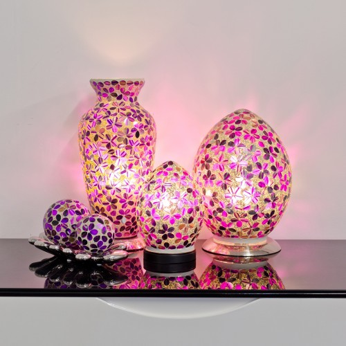 Mosaic Glass Lamps - Purple Tile Together - Turned On
