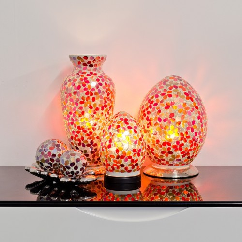 Mosaic Glass Lamps - Red Together - Turned On