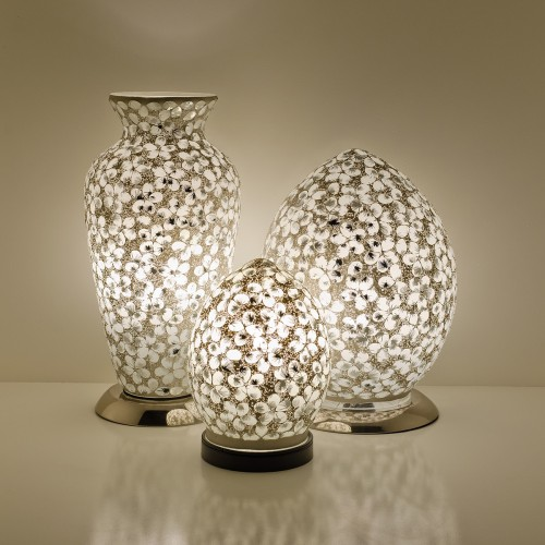 Mosaic Glass Lamps - White Together