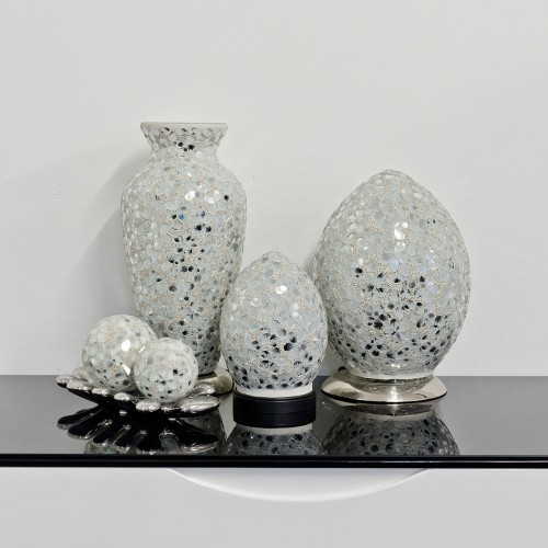 Mosaic Glass Lamps - White Together - Turned Off