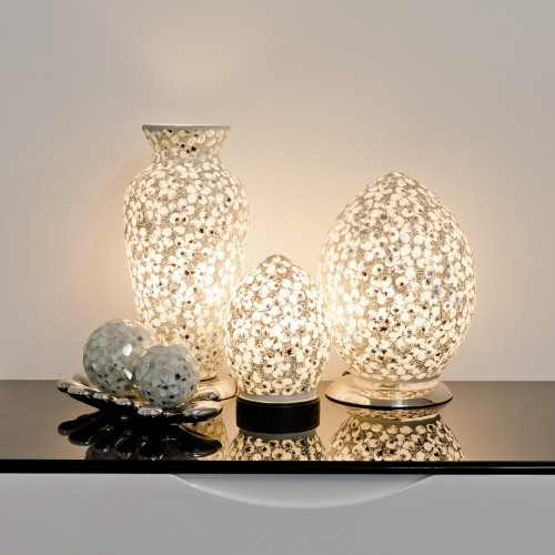 Mosaic Glass Lamps - White Together - Turned On