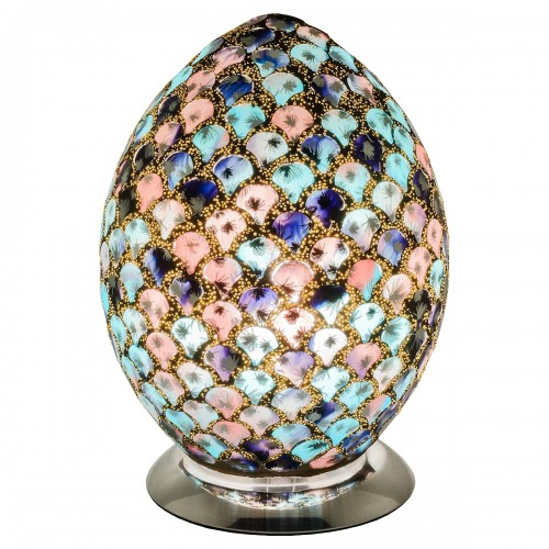 Mosaic Glass Egg Lamp - Blue & Pink Tile
