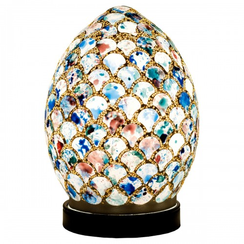 Mini Mosaic Glass Egg Lamp - Blue Tile