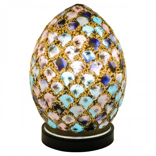 Mini Mosaic Glass Egg Lamp - Blue & Pink Tile