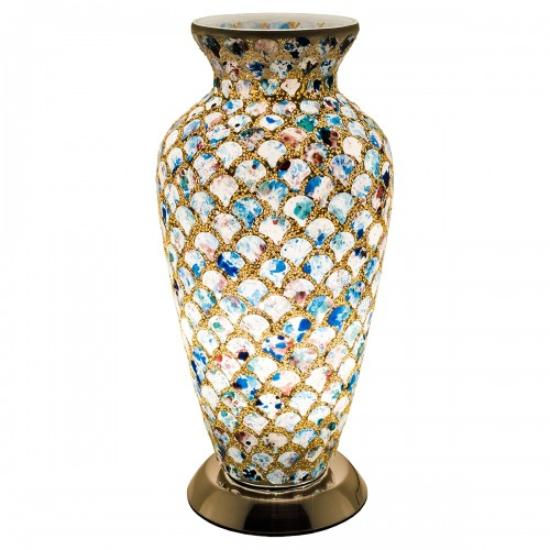 Mosaic Glass Vase Lamp - Blue Tile