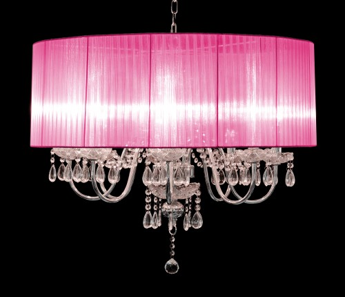Beaumont Eight Light Chandelier in Pink