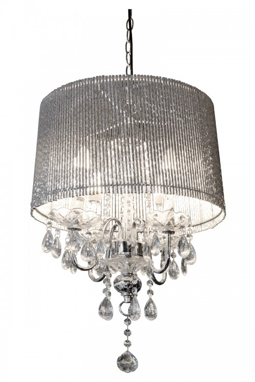 Beaumont Four Light Silver Tube Chandelier