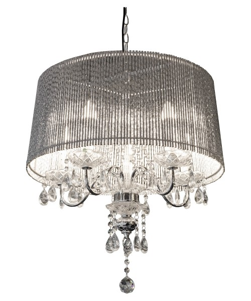 Beaumont Five Light Silver Tube Chandelier