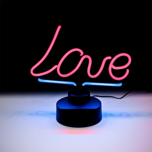 Neon Pink Love Sign Table Lamp - Turned On