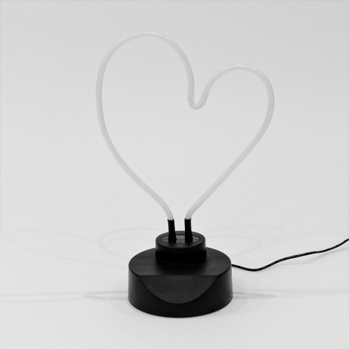 Neon Pink Heart Table Lamp - Turned Off
