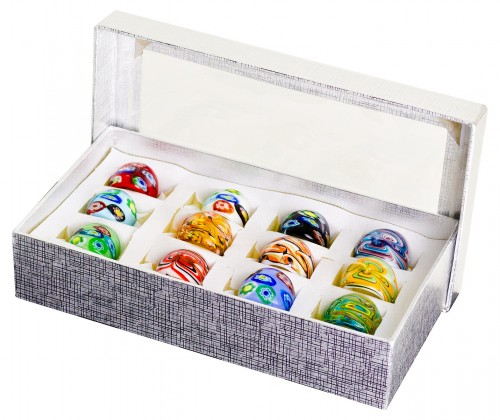 Box of Coloured Glass Fashion Rings