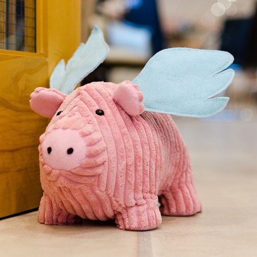 Flying pig door stop as seen in our showroom