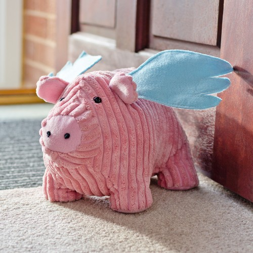 Flying pig door stop as seen in the home