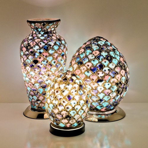 Mosaic Glass Lamps - Blue & Pink Tile Together