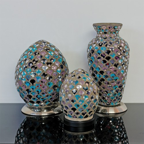 Mosaic Glass Lamps - Blue & Pink Tile Off