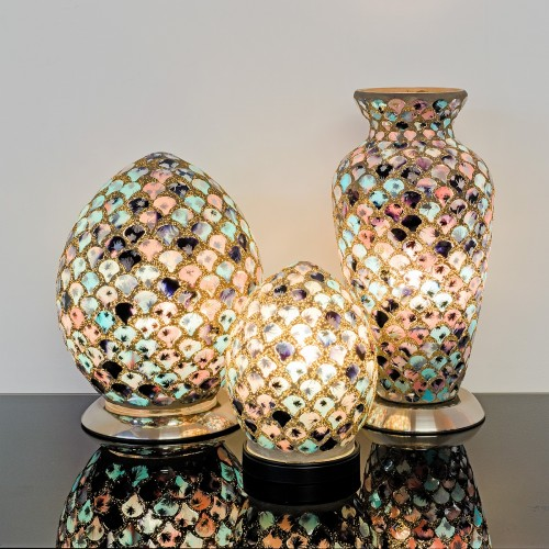 Mosaic Glass Lamps - Blue & Pink Tile On