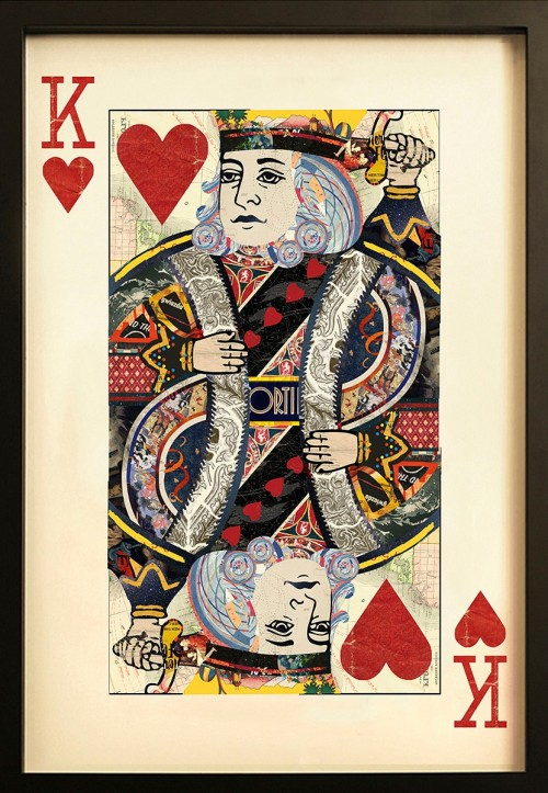King Of Hearts Collage Wall Art Playing Card Artwork