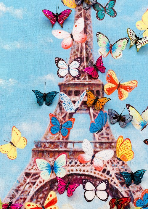 Eiffel Tower & Butterfly Canvas Wall Art - Close Up