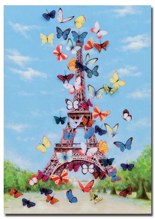 Eiffel Tower & Butterfly Canvas Wall Art