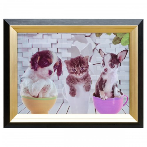 Dogs & Cat Tea Party Hologram Framed Picture