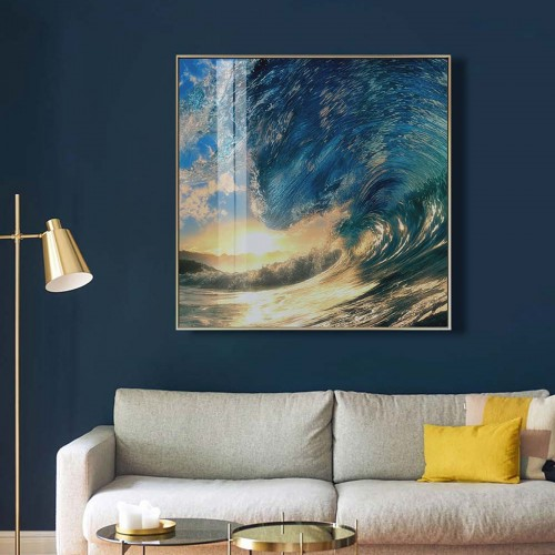 Ocean wave glass art picture on display