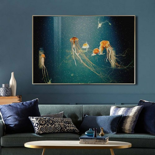 Jellyfish glass art picture on display