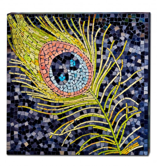 Mosaic Glass Peacock Wall Art
