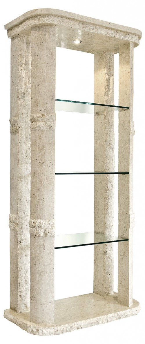 Rockedge Etagere With Light Mactan Stone Stone