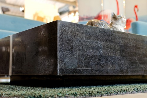 Black Stone Coffee Table - Detailed View
