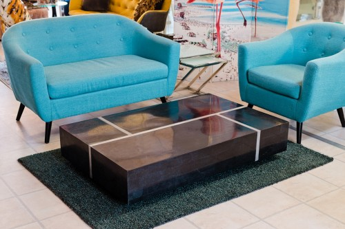 Black Stone Coffee Table in our Showroom