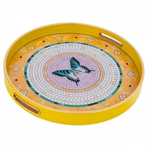 Circular Tray With Butterfly Design
