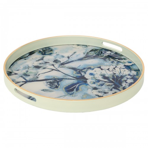 Circular White Tray With Flower Design - Large