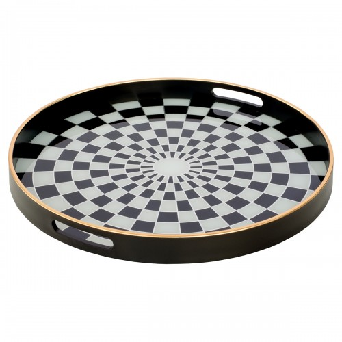 Circular Black Tray With Chequer Design - Large